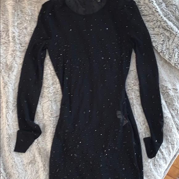 Fashion Nova Dresses & Skirts - Mesh Rhinestone Black Midi Dress